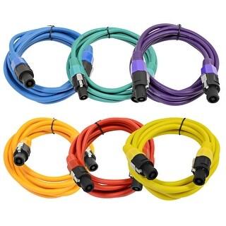 Seismic Audio 6 Pack of 10 Foot Colored Speakon Speaker Cables 12 Gauge Speakon Patch Cords