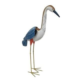 Hand Painted Metal Crane Indoor/Outdoor Shore Bird Sculpture