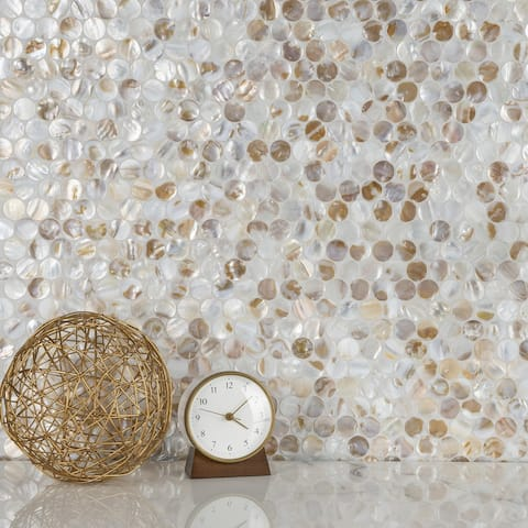 "SomerTile Conchella Penny Natural 11.25"" x 1.63"" Natural Seashell Mosaic Tile"