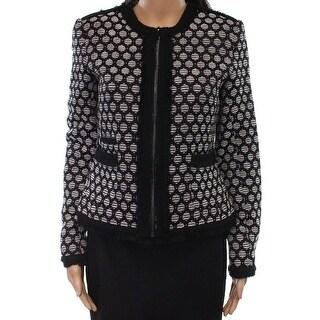 Karl Lagerfeld NEW Black Womens Size 2 Full Zip Fringe Detail Jacket