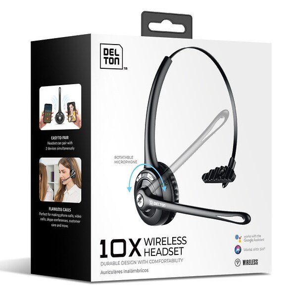 Delton Wireless Bluetooth Headset with Mic / On-Ear Wireless Computer Headphone with Microphone. Opens flyout.