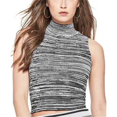 GUESS Womens Space Dye Knit Blouse, black, X-Large