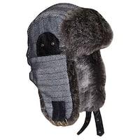 NICE CAPS Men's Striped Tweed Trapper Hat with Faux Fur Lining - grey/black tweed stripes - 59cm (men's)