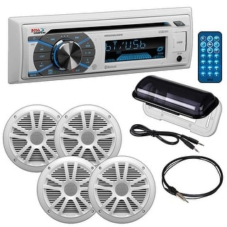"""Boss Marine Single Din CD Receiver with Bluetooth Pair 6.5"""" speakers radio cover antenna Aux"""