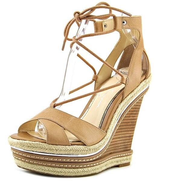ffec74019ac Shop Jessica Simpson Adyson Women Open Toe Leather Tan Wedge Sandal ...
