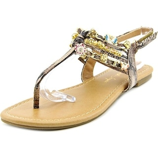 Sarah Jayne Shore Youth Open-Toe Synthetic Brown Slingback Sandal