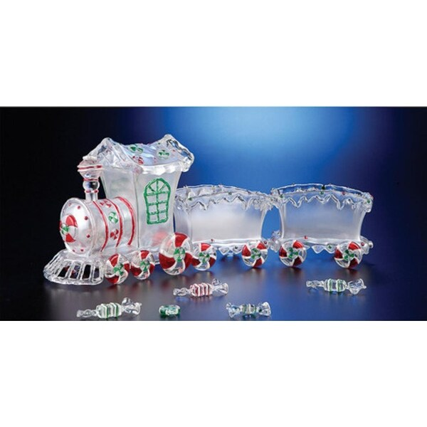 """Pack of 2 Icy Crystal Decorative Candy Holder Trains 20"""" - CLEAR"""