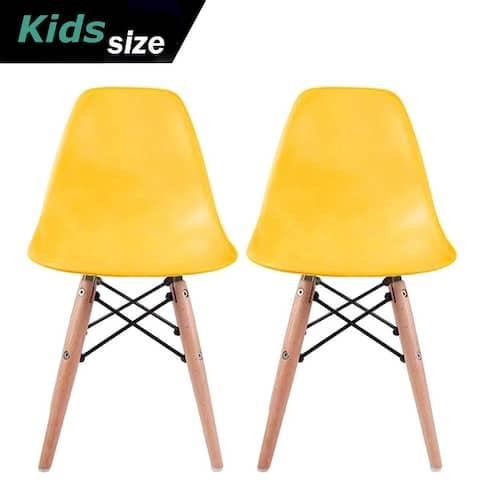 2xhome Set of 2 White Modern Plastic Wood Chairs Natural Wood Kids Children Child Activity Daycare School Kitchen Desk Work
