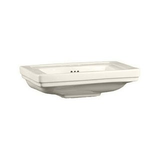 """Mirabelle MIRKW348A Key West 24-3/8"""" Porcelain Pedestal Bathroom Sink Only with Overflow and 3 Faucet Holes (8"""" Centers) Less"""