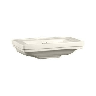 "Mirabelle MIRKW348A Key West 24-3/8"" Porcelain Pedestal Bathroom Sink Only with Overflow and 3 Faucet Holes (8"" Centers) Less"
