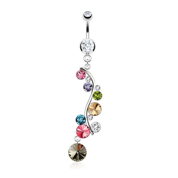 Vine with Multi CZ Droplets Dangle Navel Belly Button Ring 316L Surgical Steel (Sold Ind.)