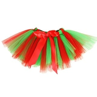 Little Girls Red Green Super Fluffy Holiday Tutu Skirt 1-4T
