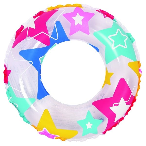 "24"" Colorful Star Print Inflatable Swimming Pool Inner Tube Ring Float"