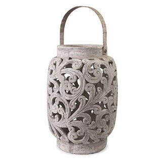 "23.25"" Large Oversized Dahlia Scrolled Cutwork Lantern Pillar Candle Holder"
