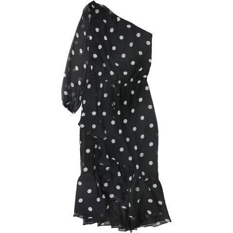 Ralph Lauren Womens Polka Dot One Shoulder Dress, Black, 14