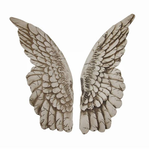 Wings of Protection Pair of 11 inch Aged Finish Wall Hanging Angel Wings - 11 X 3.5 X 1.5 inches