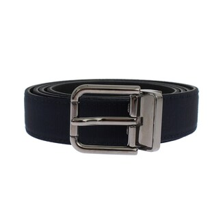 Dolce & Gabbana Blue Fabric Black Leather Silver Buckle Belt - 110-cm-44-inches