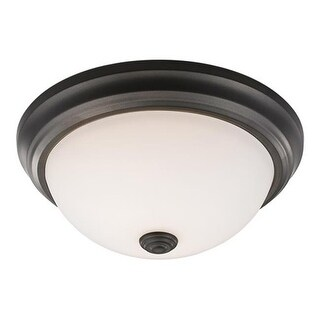 Zlite Athena 2 Light Flush Mount in Bronze with Frosted Shade