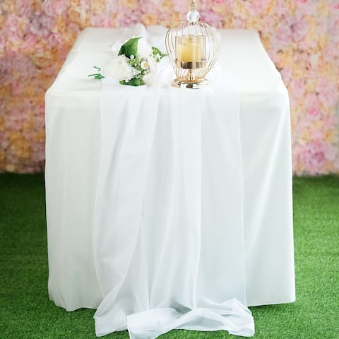 "12 Piece Premium Chiffron Wedding Extra Wide Table Runners White - 22"" x ""80"