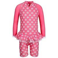 Sun Emporium Little Girls Coral Indian Damask Long Sleeved Sun Suit