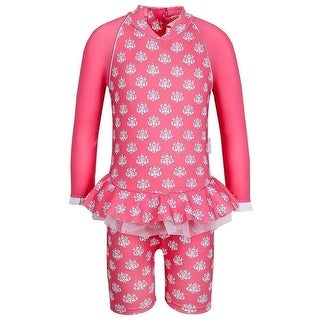 Sun Emporium Little Girls Coral Indian Damask Long Sleeved Sun Suit (4 options available)