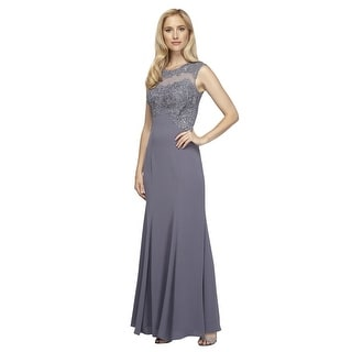 Petite Sleeveless Embroidered Jersey Illusion Gown