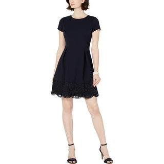 Link to Jessica Howard Womens Petites Cocktail Dress Lace Trim Short Sleeve - Navy Similar Items in Petites