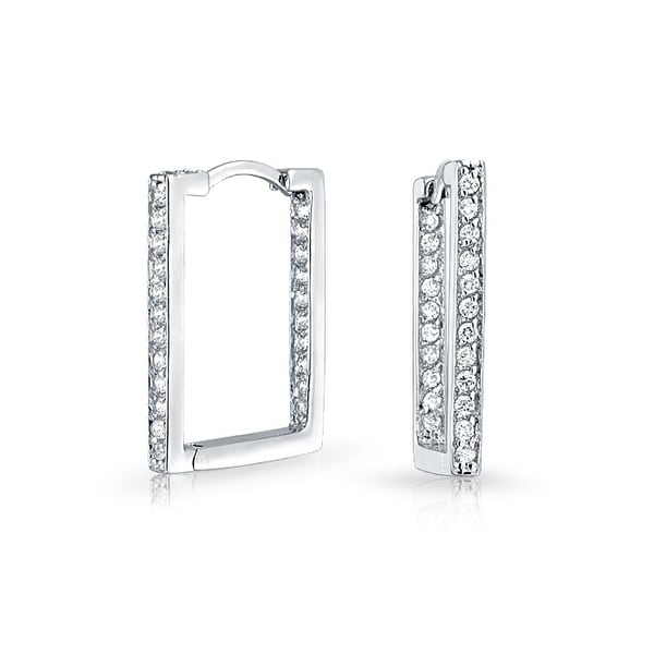 b84951e02866f3 Shop Geometric Rectangle Square Inside Out Channel Set CZ Large Hoop  Earrings of Women Cubic Zirconia 925 Sterling Silver - On Sale - Free  Shipping On ...