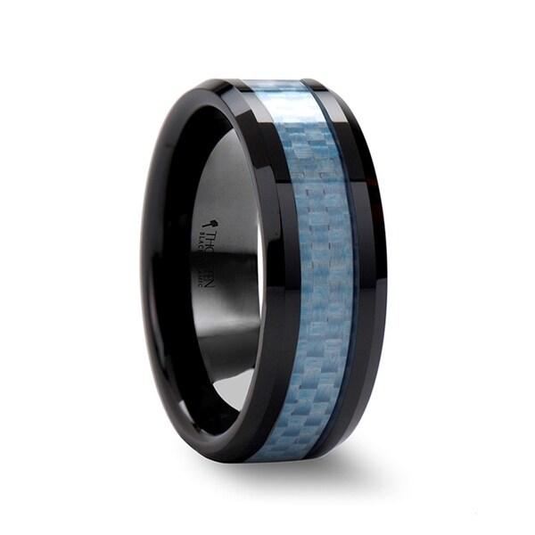 THORSTEN - ATTICUS Beveled Blue Carbon Fiber Inlaid Black Ceramic Ring