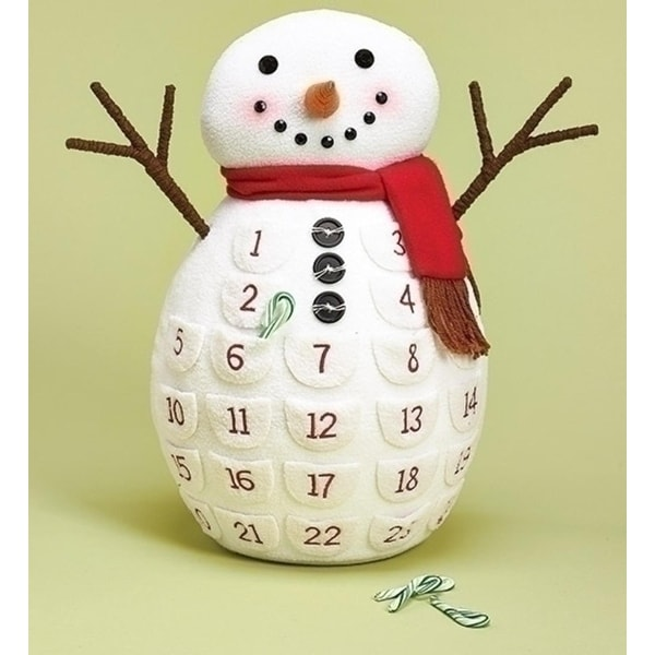 """Pack of 2 Plush Snowman Countdown Calendar Table Top Christmas Decorations 18"""" - WHITE"""