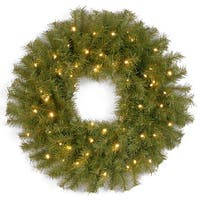 "24"" Norwood Fir Wreath with Battery Operated Warm White LED Lights - green"