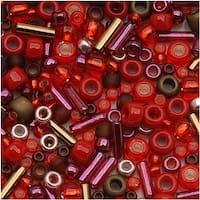 Toho Assorted Glass Beads 'Samurai' Red/Brown Mix 8g