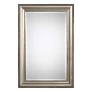 "Delacora UM-W00416  36"" x 24"" Rectangular Beveled Front Wood Framed Contemporary Accent Mirror - Champagne-Silver Leaf"