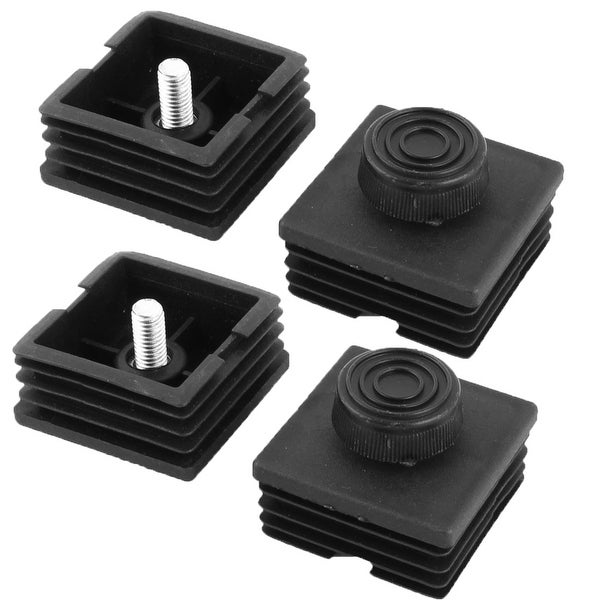 Unique Bargains 4 Sets Antislip Plastic Square 50mm x 50mm Chair Foot Cover Table Furniture Leg Protector Black