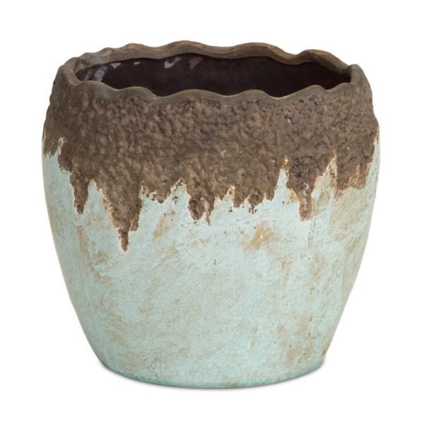 """9"""" Pale Blue and Brown Terreux Crackled Outdoor Patio Garden Planter Pot - N/A"""