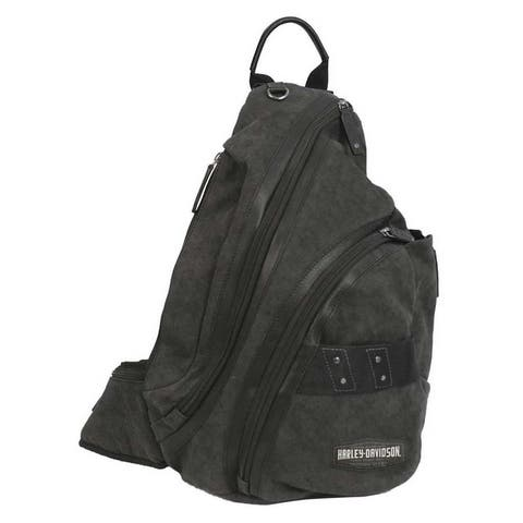 "Harley-Davidson C4 Collection H-D Sling Backpack, Cotton Canvas w/ Leather Trim - 12.5"" x 18"" x 5.75"""