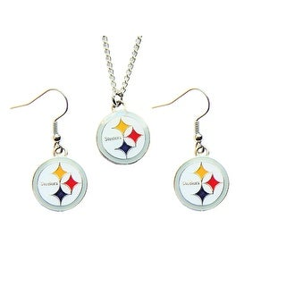 Pittsburg Steelers Necklace and Dangle Earring Charm Set NFL