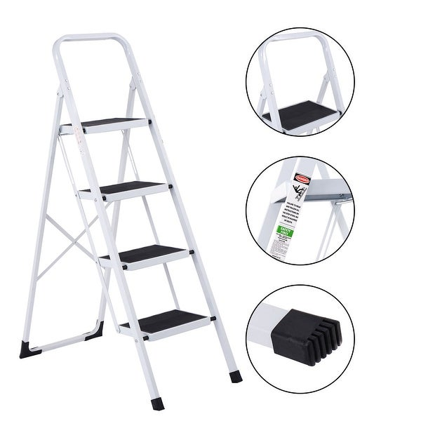 Costway Non-slip 4 Step Ladder Folding Steel Work Platform Stool 330 Lbs Load Capacity - White