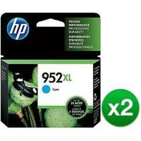 HP 952XL High Yield Cyan Original Ink Cartridge (L0S61AN)(2-Pack)