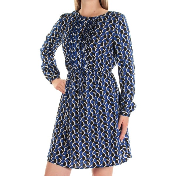 674822d3aa2 Womens Blue Printed Long Sleeve Above The Knee Fit + Flare Dress Size  8