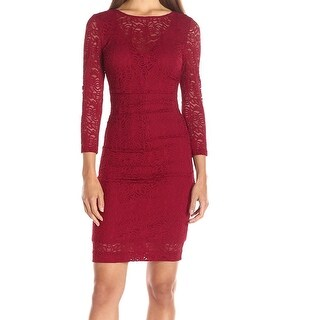 Nicole Miller NEW Deep Red Womens Size 2 Floral-Lace Sheath Dress