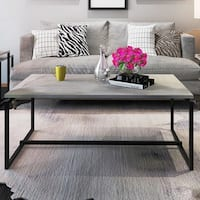Gymax Metal Frame Cocktail Coffee Table Cement Color Rectangular Accent Living Room