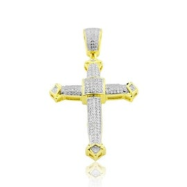 10K Gold Diamond Cross Mens 48mm Tall 1/2cttw By MidwestJewellery - White