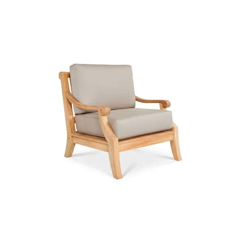Sonoma Teak Deep Seating Outdoor Club Chair with Sunbrella Antique Beige Cushion