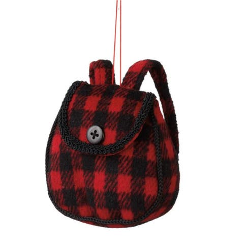 """3.75"""" Red and Black Plush Plaid Backpack Christmas Ornament"""