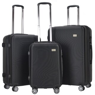 GLOBALWAY 3 Pcs Luggage Travel Set ABS Trolley Suitcase Spinner Hardshell Black