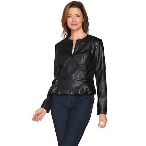 G.I.L.I. Womens Peplum Faux Leather Zip Front Jacket 0 Black A286997