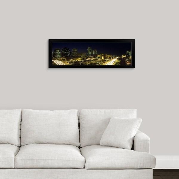 """Buildings in a city lit up at night, Phoenix, Maricopa County, Arizona"" Black Framed Print"