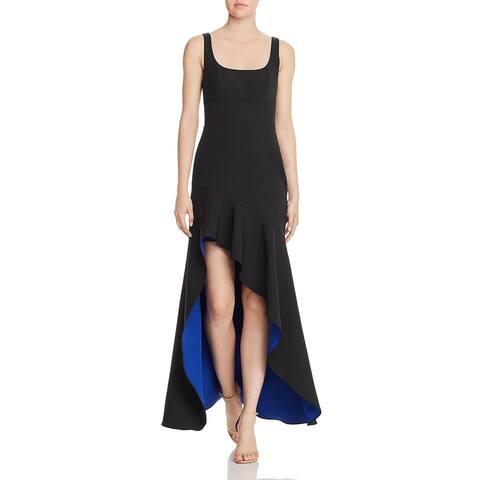 BCBG Max Azria Womens Evening Dress Ruffled Hi-Low - Black