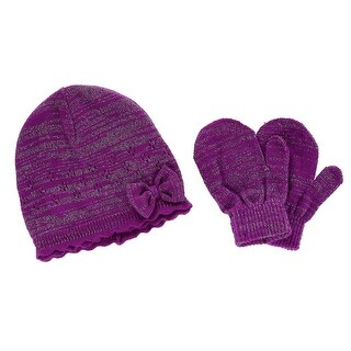 CTM® Toddler Girl's 0-2 Acrylic Knit Beanie with Bow and Matching Mitten Set